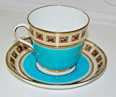 Rare Brown Westhead & Moore Antique Blue Gold Rose Teacup Tea Cup Saucer  • 59.99£