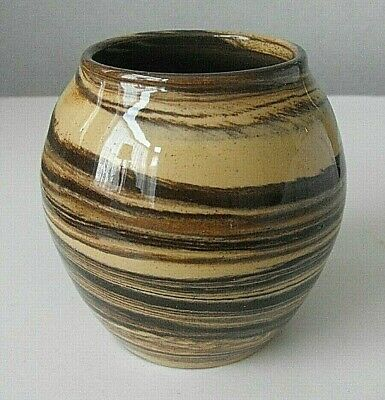 Antique Earthenware Marbled Agate Agateware Glazed Pot • 9.50£
