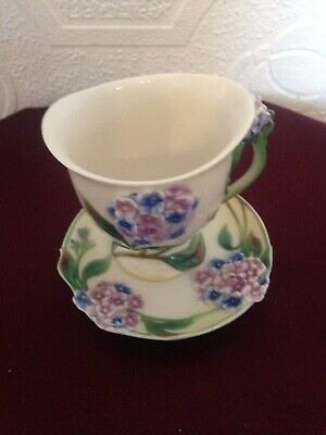 Franz Forget Me Not Cup And Saucer FZ00461 - Mint • 28£