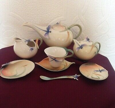 Franz Dragonfly Teapot,Sugar,Creamer,Cup,Saucer,Spoon And Trinket Dish X 8 -Mint • 140£