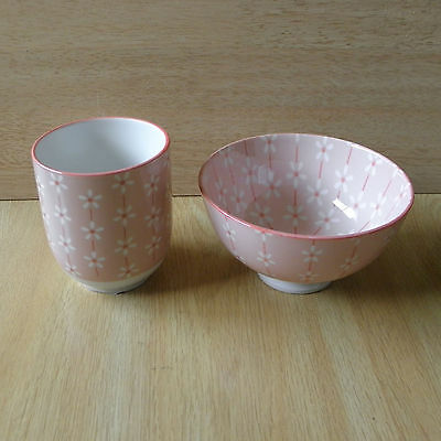 Japanese Tea Cup And Bowl For Rice / Yunomi And Chawan In Pink Color • 13.45£