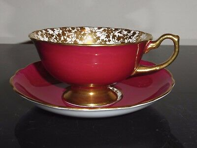 Hammersley Burgundy And Gold Tea Cup And Saucer Set • 43.44£