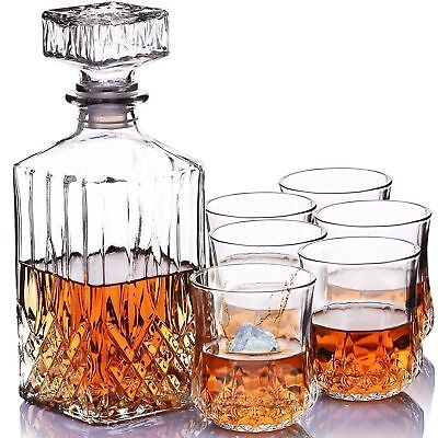 7 PC Crystal Glass Whisky Decanter With Tumblers Bar Gift Wine Presentation • 9.99£