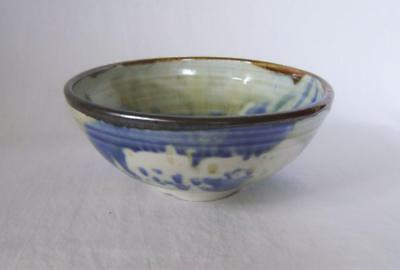 Alan Ward Porcelain Bowl : Blue & White With  Brown Rim, Signed Studio Pottery • 22£