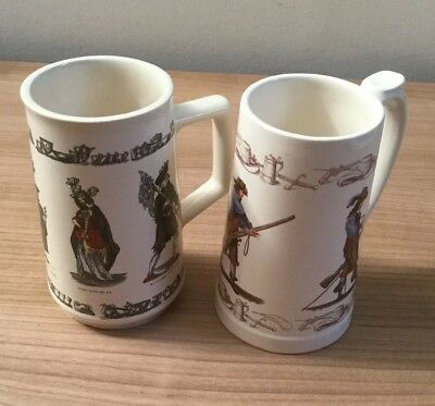 A Pair Of Vintage Holkham Pottery Street Sellers Tankards • 19.99£