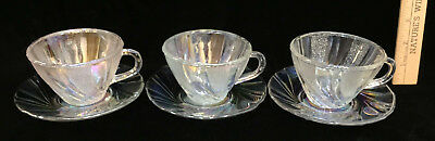 Cup & Saucer Clear Glass Iridescent Finish Smooth & Stippled Swirl Vintage Set 6 • 11.84£