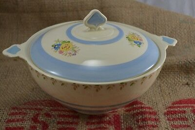 VINTAGE NEW HALL Blue Floral Lidded Tureen Vegetable Dish Serving Large  • 20£