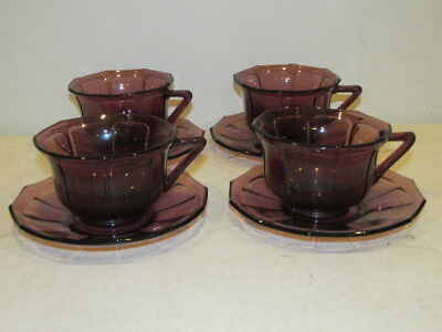 Vintage Set Of 4 Amethyst Paneled Cups And Saucers VF • 10.11£