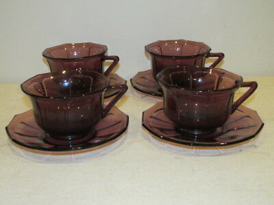Vintage Set Of 4 Amethyst Paneled Cups And Saucers VFC • 7.92£