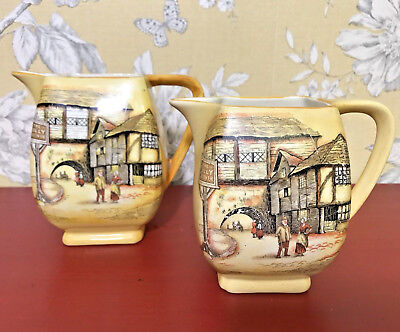 Pair Of Jugs Creamers Ironstone Yellow Colour Lancaster L & Sons Hanley Vintage • 14.99£
