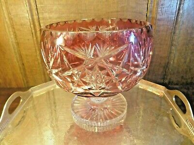 VGC CRANBERRY CRYSTAL Cut To Clear LARGE PEDESTAL CENTREPIECE BOWL/DISH 7.25  Ht • 34.95£