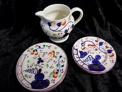 Antique Gawdy Welsh Tea Set Items, Oyster Pattern 10 Items • 150£