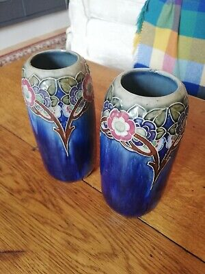A BEAUTIFUL Pair Of Royal Doulton Stoneware Baluster (Tube-lined) Vases  • 100£