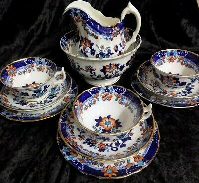 Early Gaudy Welsh, 11 Piece Part Teaset, Great Condition Flow Blue Pattern, • 199£