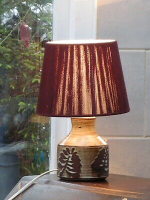 Vintage Briglin  studio Pottery Leaf Pattern Table Lamp And Shade • 30£