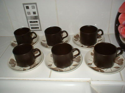 VINTAGE J&G MEAKIN BROWN MAIDSTONE WHISPERING 6 MUGS And SAUCERS • 11.99£