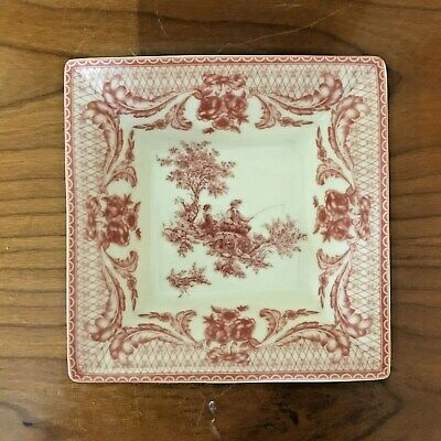 Decorative Porcelain Bowl Square Shape White & Pink Pattern Regency Style • 14.50£