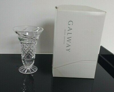 GALWAY 24% Lead IRISH CRYSTAL- Leah 4  Footed Vase With Box VGC • 12.99£