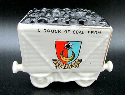 Antique Crested China, Railway Coal Wagon Model Southsea Willow Art China. • 22£