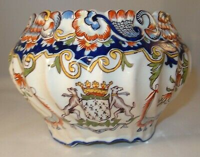 Antique French Faience Desvres Fourmaintraux Hand Painted Bowl Cache Pot C1890 • 36.99£