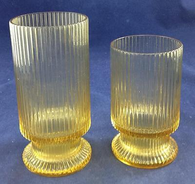 Imperial Glass LINEAR YELLOW Water Goblet & Iced Tea Showroom Inventory MINT • 19.06£