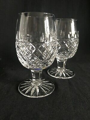 """Pair Of Galway Crystal Rathmore Cut Brandy Snifter Glasses, Unsigned 4"""" Tall • 14.95£"""