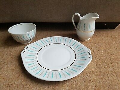 Queen Anne Caprice Cake Plate, Sugar Bowl, And Milk Jug • 18.95£