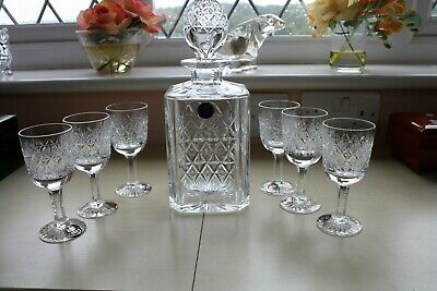 A Beautiful Thomas Webb Crystal Wellington Decanter + 6 Glasses Labels Attached • 120£
