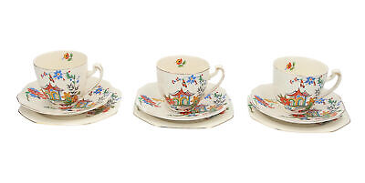 3 X Alfred Meakin Trios Cups, Saucers & Plates Pagoda Design Vintage English • 29.95£