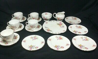 H M Sutherland Bone China Tea Set SUT74 Floral, Scalloped Gold Trim 18 Piece • 24.95£