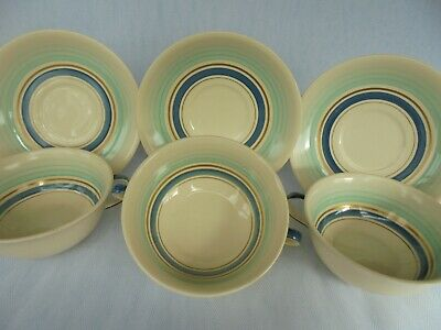 Set Of Three Gray's Pottery ' Banded ' Soup Bowls & Landing Plates ~ Lovely ! • 15£