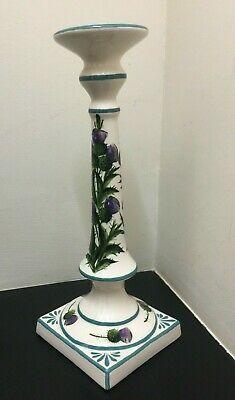 Large Rare Scottish G. Hill Wemyss Pottery Candlestick, Thistles, 33.5cm. • 105£