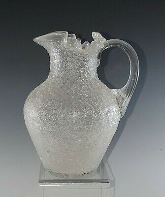 5.75  Tall Clear OVERSHOT Crackle GLASS Pitcher Vase, Applied Handle, NICE! • 26.82£