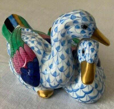 Herend Hand Painted Pair Of Ducks Blue '5036' VERY GOOD CONDITION 4 COLLECTORS • 134£