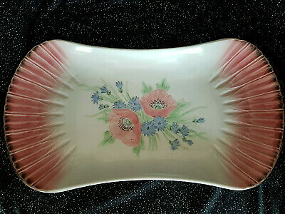 Rare Vintage Branksome China Platter Fan Shaped Ends Inlay Carol, Poppy (ss10) • 49£