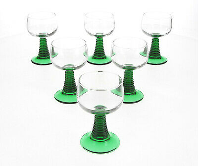 A Set Of 6 French Green & Clear White Wine / Hock Glasses • 19.95£