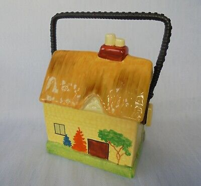 Carlton Ware Thatched Cottage Biscuit Barrel ~ From The 'village ' Range -c.1930 • 38£
