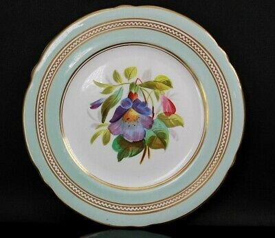 Antique English Fine Porcelain Display Flower Plate Circa 1860 • 125£
