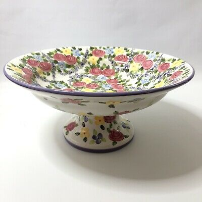 Spring Chintz Tabletops Unlimited Footed Pedestal Bowl 15 Inches • 63.05£
