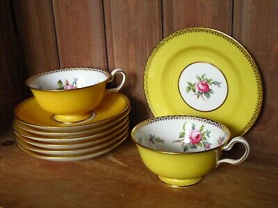 Lovely Antique Copeland Spode Golden Yellow Pink Roses Teacups Saucers Spares • 25£