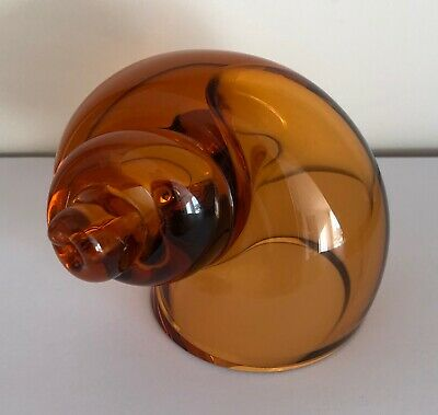 Wedgwood Art Glass Snail Shell Amber Translucent Paperweight Ornament  • 14.99£