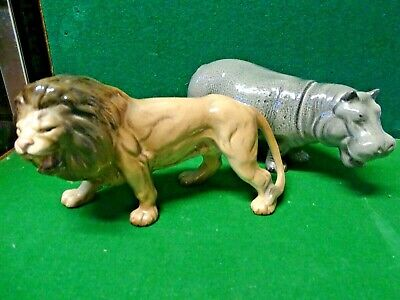 Melba Ware Porcelain Large Lion & Hippo Figures Wild Animals Africa • 29.99£