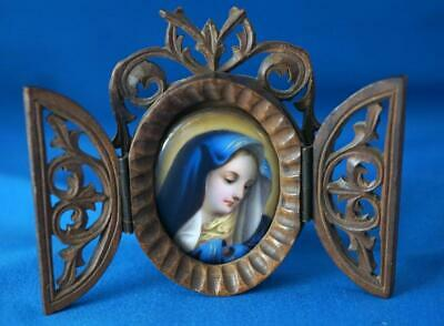 Antique Miniature Travel Icon KPM Berlin Hand Painted Plaque In Wooden Case • 210£