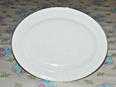 Queen Anne Bone China White With Gold Rim Oval Serving Platter, Meat Plate, • 19.99£