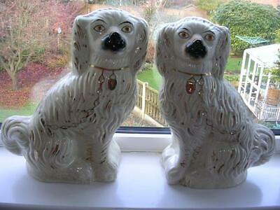 Pair Of Large Vintage Staffordshire Wally Spaniel Dogs • 60£