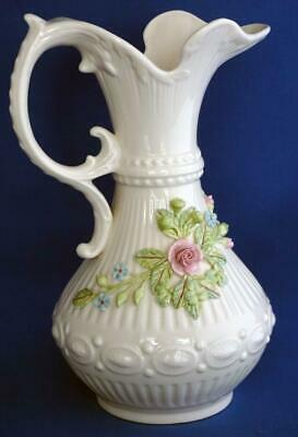 Vintage Belleek Irish Porcelain Flower Encrusted Large Jug • 45£