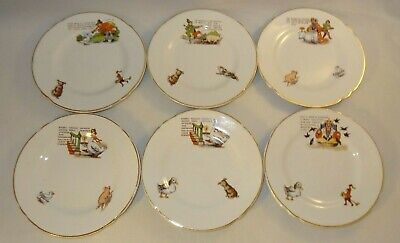 6 Antique Children's Nursery Ware Nursery Rhyme 5 3/8  Plates C1910 VGC • 24.99£