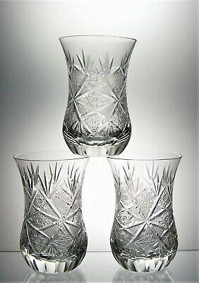 Set Of 3 American Brilliant Cut Crystal Thistle Whisky Shot Tot Glasses - 8 Cm • 20£