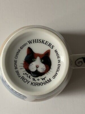 Whiskers Cat Mug Roy Kirkham 2001 China Made In England  Cat Lovers • 14.99£