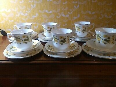 Queen Anne China Tea Set Ashley Yellow Flowers 20 Piece Bone China England • 26.99£